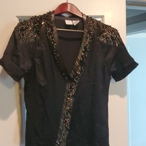Armani Exchange silk blouse with metal accents.